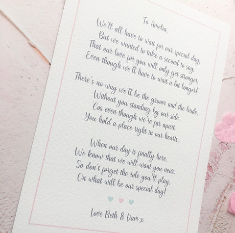 Postponed Wedding: Page Boy/Flower Girl Poem