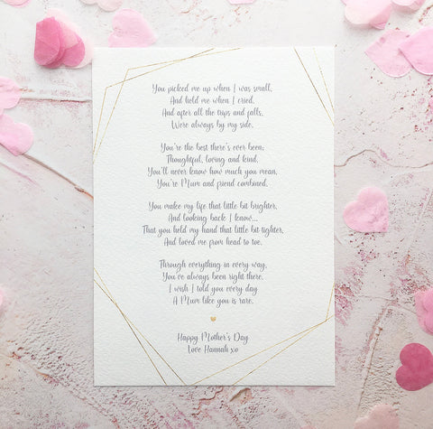 Personalised Mother's Day Poem Print