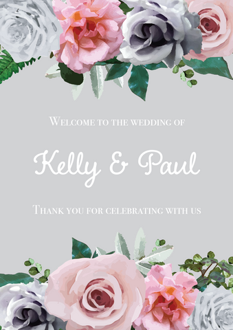 Grey & Blush Floral Welcome Sign