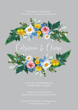 Vintage Grey Floral Wreath Wedding Invitation / Wedding Stationery