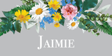 Vintage Grey Floral Wreath Place Name