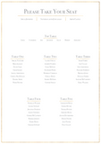 Classic Gold Foil Effect Frame Wedding Table Plan