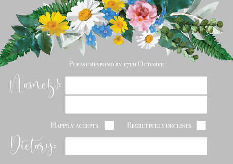 Vintage Grey Floral Wreath RSVP