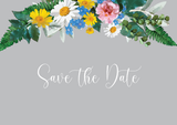 Vintage Grey Floral Wreath Save The Date