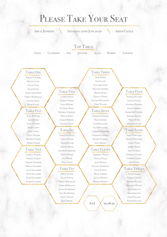 Geometric Marble Honeycomb Wedding Table Plan