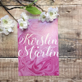 Full Marble Swirl Calligraphy Wedding Invitation in Pink
