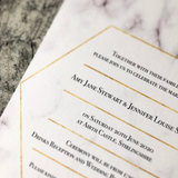 Geometric Marble Gold Foil Effect Frame Wedding Invitation / Wedding Stationery / Marble Wedding