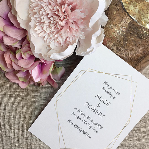 Simple Geometric Frame Wedding Invitation with Gold Foil Effect in White