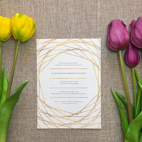Geometric Framed Wedding Invitation with Gold Foil Effect
