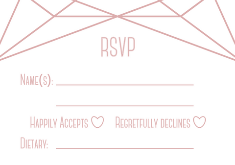 Double-sided A7 RSVP. This side has a white background and blush detail/text. There is space for the guests to write their names, and tick whether they can or cannot attend the wedding. There is also a space for them to indicate their dietary requirements.