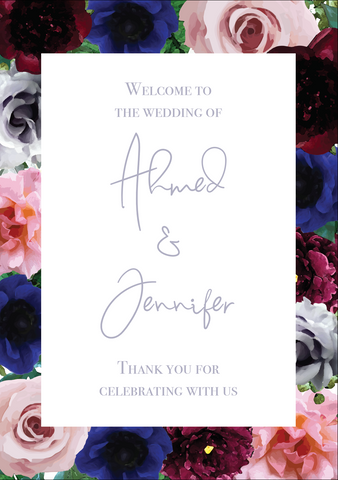 Burgundy, Blue & Blush Border Welcome Sign