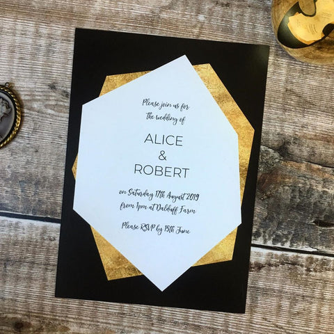 Geometric Gold Foil Effect Invitation
