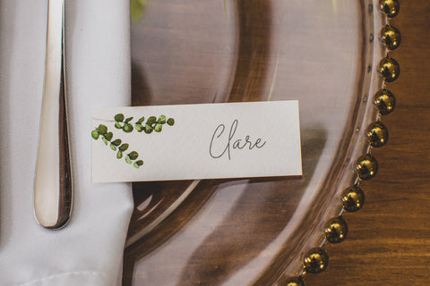 Minimal Eucalyptus Wedding Place Names