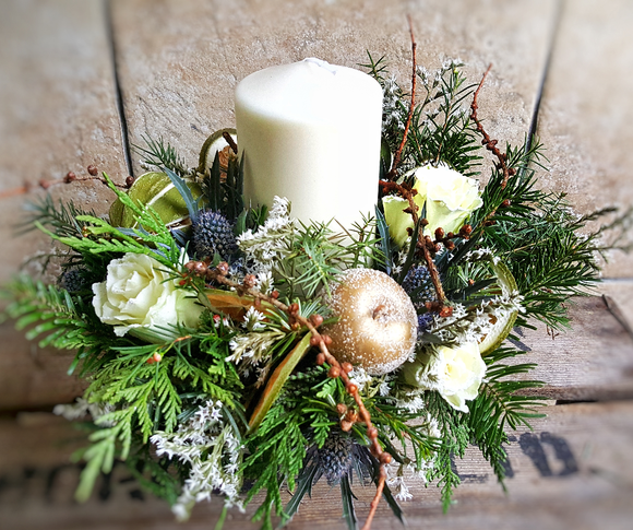 Candle Arrangement - White - Yeomans Flowers