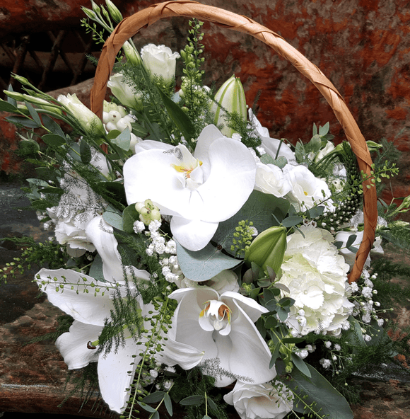 Flower Basket White - Yeomans Flowers