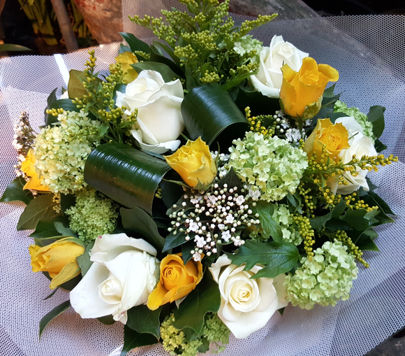 Flower Bouquet - White and Yellow - Yeomans Flowers in London NW1