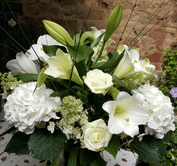 Tall Flower Arrangement - Lily Rose and Hydrangea *** - Yeomans Flowers