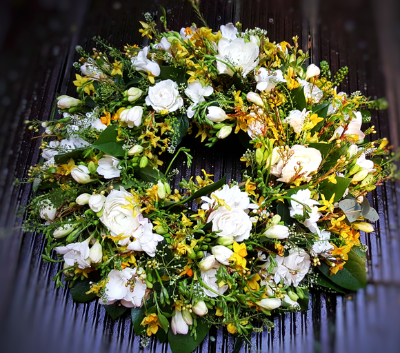 Yellow and White Wreath - Yeomans Flowers in London NW1