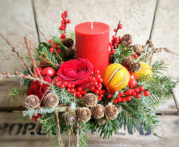 Christmas Candle Arrangement- Red - Yeomans Flowers