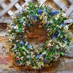 Christmas Wreath - natural blue&white - Yeomans Flowers