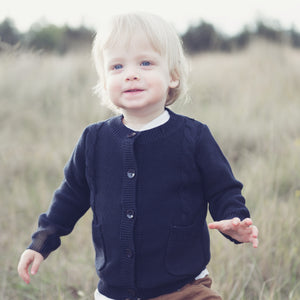Boys Knitted Cardigan Navy