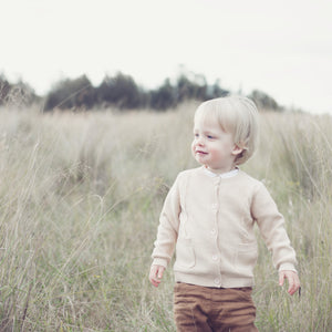 Boys Knitted Cardigan - Oatmeal