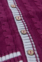 Load image into Gallery viewer, Varsity Cardigan - Mulberry