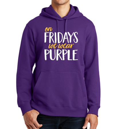 JCSD - On Fridays We Wear Purple Unisex Hooded Sweatshirt (Ladies Design)