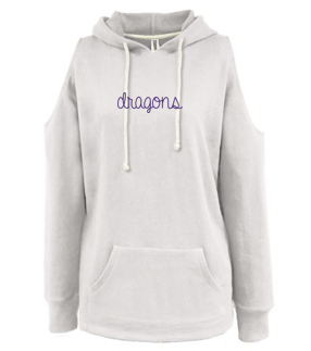 CLOSEOUT - Ladies Cold Shoulder Hoodie (Script Glitter Design)