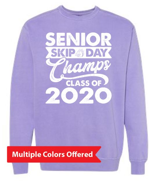 Summer PTO '20 - Adult Pigment-Dyed Crew Neck Sweatshirt (White Senior Skip)