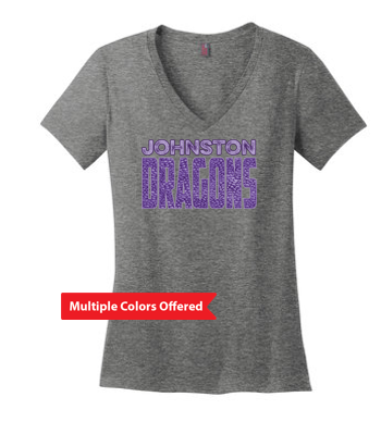 Fall PTO '20 - Ladies 100% Cotton Vneck Tshirt (Dragon Scales)