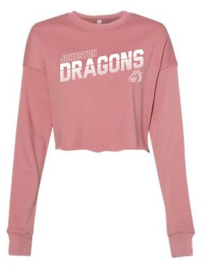 CLOSEOUT  - Ladies Fleece Cropped Crewneck  (Diagonal)