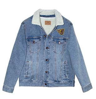 JCSD - Men's/Unisex Sherpa-Lined Denim Jacket in Multiple Colors (Fire J EMB)