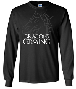 JCSD - Dragons are Coming Long Sleeve Tshirt (Mens/Unisex)