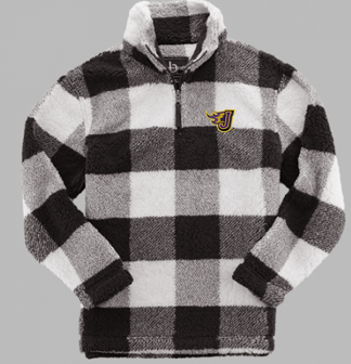 Winter PTO 19 - Youth/Ladies Black/Natural Plaid Sherpa 1/4 Zip Pullover (EMB)