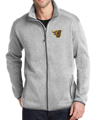 Fall PTO '20  - Adult/Unisex Grey Heather Full-Zip Sweater Fleece Jacket (EMB)