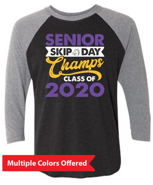 Summer PTO '20 - Adult Triblend 3/4 Sleeve Raglan (Senior Skip Color)