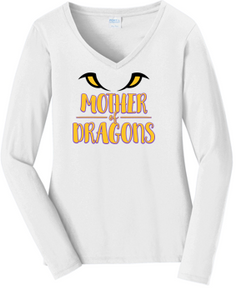 JCSD - Mother of Dragons Long Sleeve V-Neck Tshirt in Various Colors (ladies)