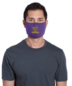 Johnston Football '20 - 100% Cotton 3-Ply Fabric Face Mask (Fire J Football)