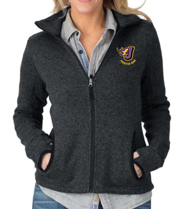 Johnston Band - Ladies Heathered Fleece Jacket (Embroidery Design)