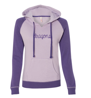 Spring PTO '20 - Ladies Raglan Hooded Sweatshirt (Script Glitter Design)