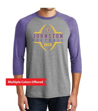 Johnston Football '20 - Adult Tri 3/4-Sleeve (Football Design)
