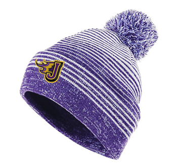 CLOSEOUT - Holloway Constant Purple/White Striped Beanie (EMB)