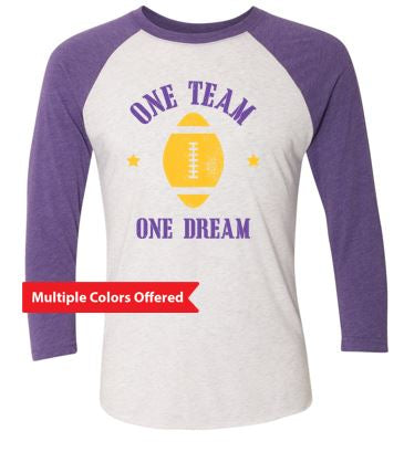 Johnston Football '20 - Adult Tri 3/4-Sleeve (One Dream One Team)