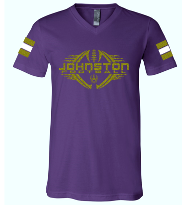 Johnston Football '20 - Adult PERSONALIZED Name/Number V-neck Tshirt (Mom Design - Glitter)