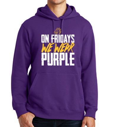 JCSD - On Fridays We Wear Purple Unisex Hooded Sweatshirt (Dragon Head Design)