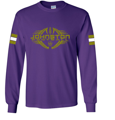 Johnston Football '20 - Adult PERSONALIZED Name/Number Long Sleeve Tshirt (Mom Design - Glitter)