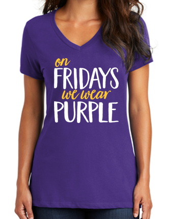 JCSD - On Fridays We Wear Purple Ladies V-Neck (Ladies Design)