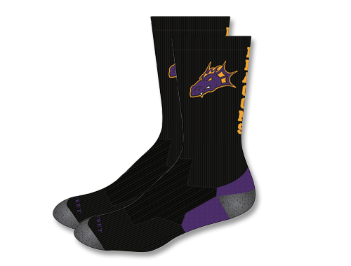 Spring PTO - Black Crew Length Dragon Socks (Youth & Adult)