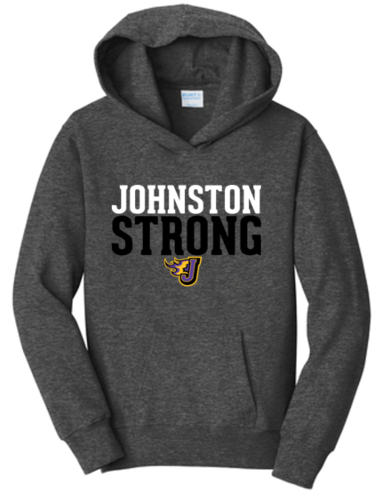 CLOSEOUT - Johnston Strong Dark Grey Heather Hooded Sweatshirt (Youth/Adult)